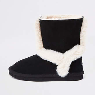 River Island Girls black suede fur lined ankle boots