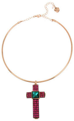 Betsey Johnson Duchess of Betseyville Crystal Cross Pendant Necklace