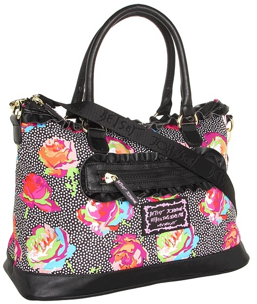 Betsey Johnson Take the Higher Rose Satchel (Black) - Bags and Luggage