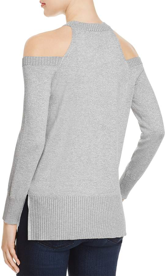Aqua Metallic Cold-Shoulder Sweater - 100% Exclusive