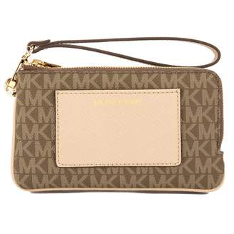 Michael Kors Mocha Signature Canvas Bedford Medium Double Zip Wristlet (New with Tags)