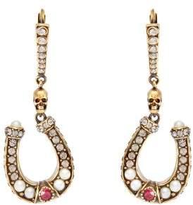 Alexander McQueen Horseshoe Pave Crystal Drop Earrings - Womens - Gold