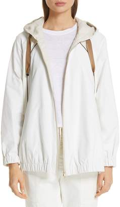 Brunello Cucinelli Monili & Satin Trim Hooded Taffeta Jacket