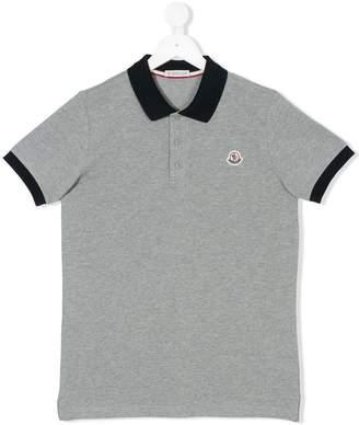 Moncler Teen contrast collar polo shirt