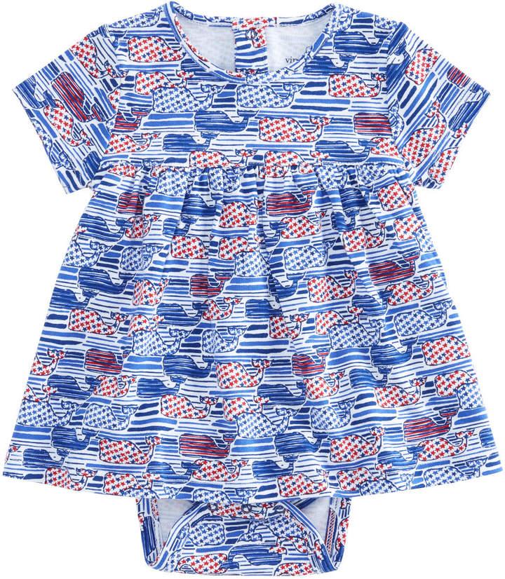 Baby Stars & Stripes Whale Print Onesie Dress