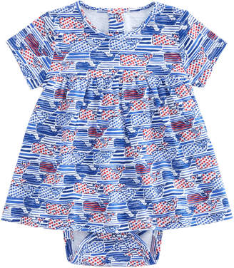 Vineyard Vines Baby Stars & Stripes Whale Print Onesie Dress