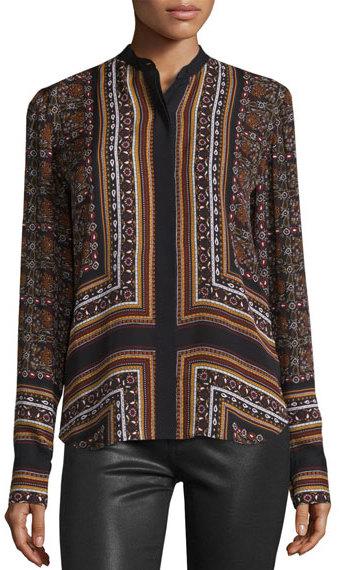 A.L.C.A.L.C. Franco Long-Sleeve Silk Multipattern Top, Brown/Multicolor