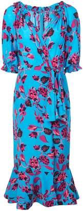 Saloni floral print wrap dress