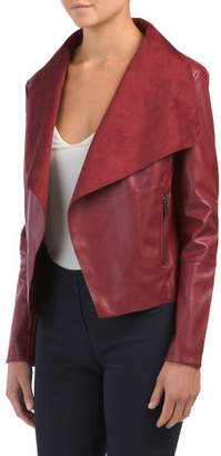 Faux Leather Drape Jacket