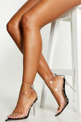 boohoo Cross Clear Strap Pointed Toe Heels