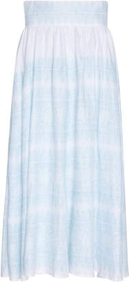 Thierry Colson Trish Pleated Printed Linen Midi Skirt