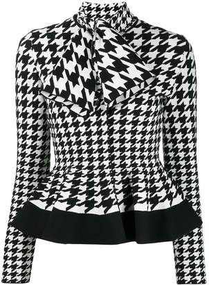 Alexander McQueen houndstooth patterned knitted top