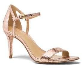 MICHAEL Michael Kors Simome Snake Print Leather Ankle-Strap Pumps