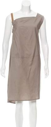Brunello Cucinelli Leather-Accented Knee-Length Dress