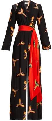 Diane von Furstenberg Aurora Phoenix Print Silk Jumpsuit - Womens - Black Print