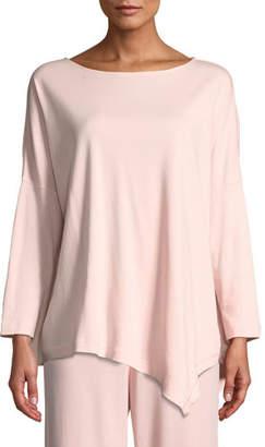 Joan Vass Oversized Long-Sleeve Pullover w/ Asymmetric Hem, Petite