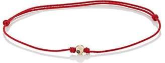 Luis Morais Men's Diamond-Studded Yellow Gold Bead On Cord Bracelet - Red