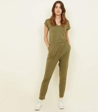 New Look Khaki Cap Sleeve Jersey Jumpsuit