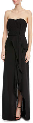 Halston Strapless Ruffle-Front Gown