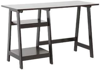 Baxton Studio Mott Small Wood Modern Desk with Sawhorse Legs Dark Brown