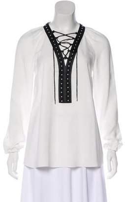 Altuzarra Embellished Lace-up Blouse