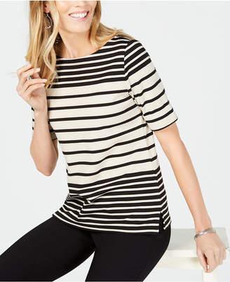 Karen Scott Striped Elbow-Sleeve Top