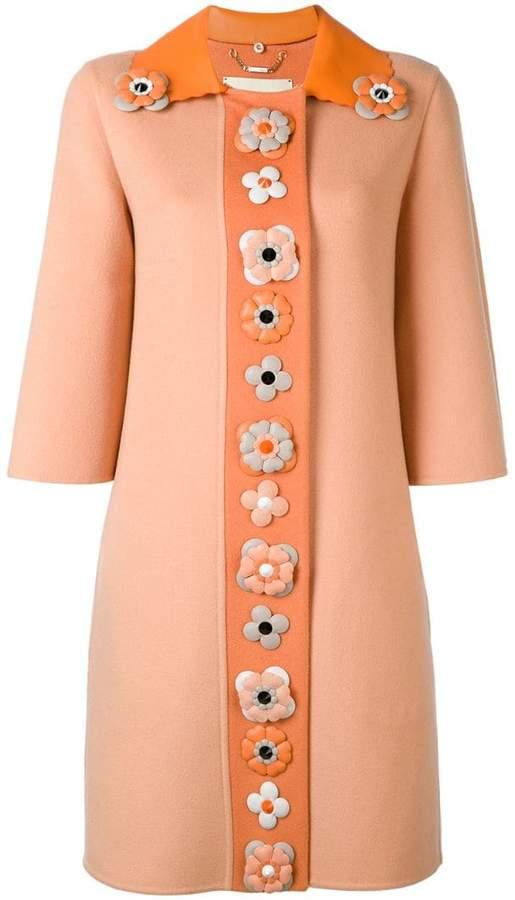 Fendi floral embellished coat