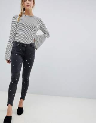 Parisian Rhinestone Skinny Jeans with Raw Hem