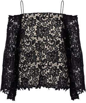 Alice + Olivia Cold-Shoulder Guipure Lace Top