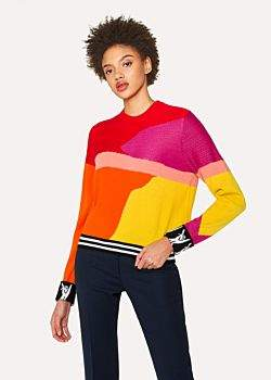 Paul Smith Women's Red Colour-Block Textured-Knit Sweater