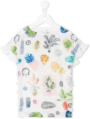 Simonetta leaf printed blouse