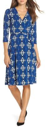 Leota Print Jersey Faux Wrap Dress