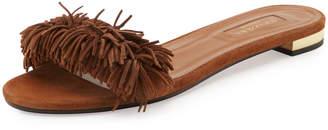 Aquazzura Wild Thing Suede Flat Slide Sandal, Brown