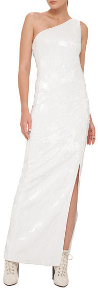 Akris Akris Sequined Jersey One-Shoulder Gown, White