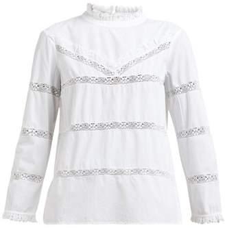 Sea Crochet Insert Cotton Blouse - Womens - White