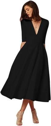 FYMNSI Women Deep V Neck Half Sleeve Cocktail Midi Dress Elegant Wedding Formal A-Line Evening Dance Party Gown XL