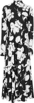 Ganni Alameda Pleated Floral-Print Stretch-Knit Maxi Dress