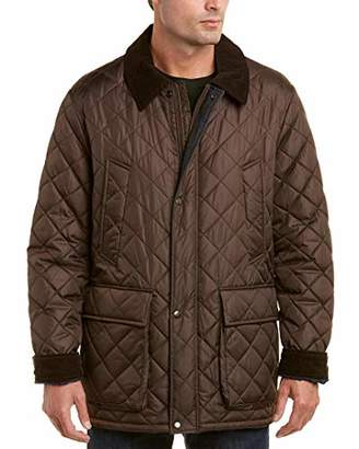 Cole Haan Men's Quilted Nylon Barn Jacket with Corduroy Details