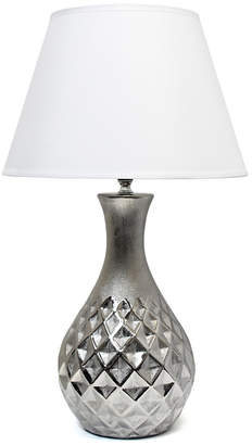 All The Rages Elegant Designs Juliet Ceramic Table Lamp with Metallic Silver Base and White Fabric Shade