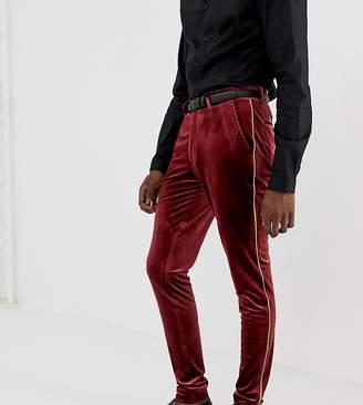 Asos Design DESIGN Tall super skinny smart pants in burgundy velvet with gold piping