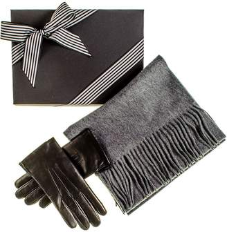 Black Rabbit Fur Lined Gloves and Grey Cashmere Scarf Gift Set