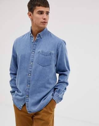 38df0c83905 Celio regular fit long sleeve denim shirt in bleach wash