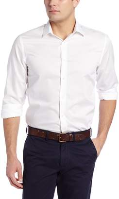Perry Ellis Men's Long Sleeve Twill Noniron Spread Collar Shirt, Bright White