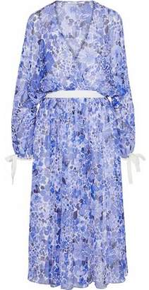 Agnona Wrap-Effect Floral-Print Silk-Georgette Dress