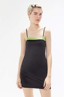 Motel Selah Satin Lace Trim Bodycon Mini Dress