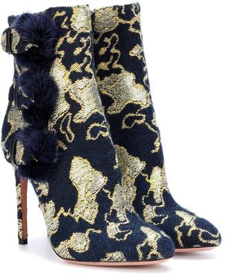 Aquazzura Exclusive to mytheresa.com Sinatra 105 fur-trimmed brocade ankle boots
