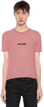 Saint Laurent Tight Fit Striped Cotton Jersey T-Shirt