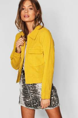 boohoo Utility Pocket Zip Up Oversize Velvet Trucker