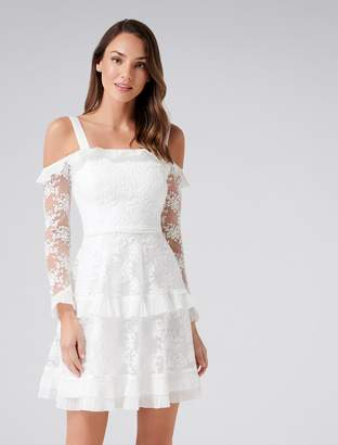 Forever New Lucy Frill Long Sleeve Dress - White - 4