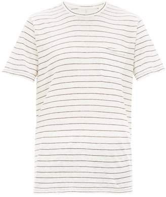 Rag & Bone Owen Striped Slubbed Linen T Shirt - Mens - Beige Multi